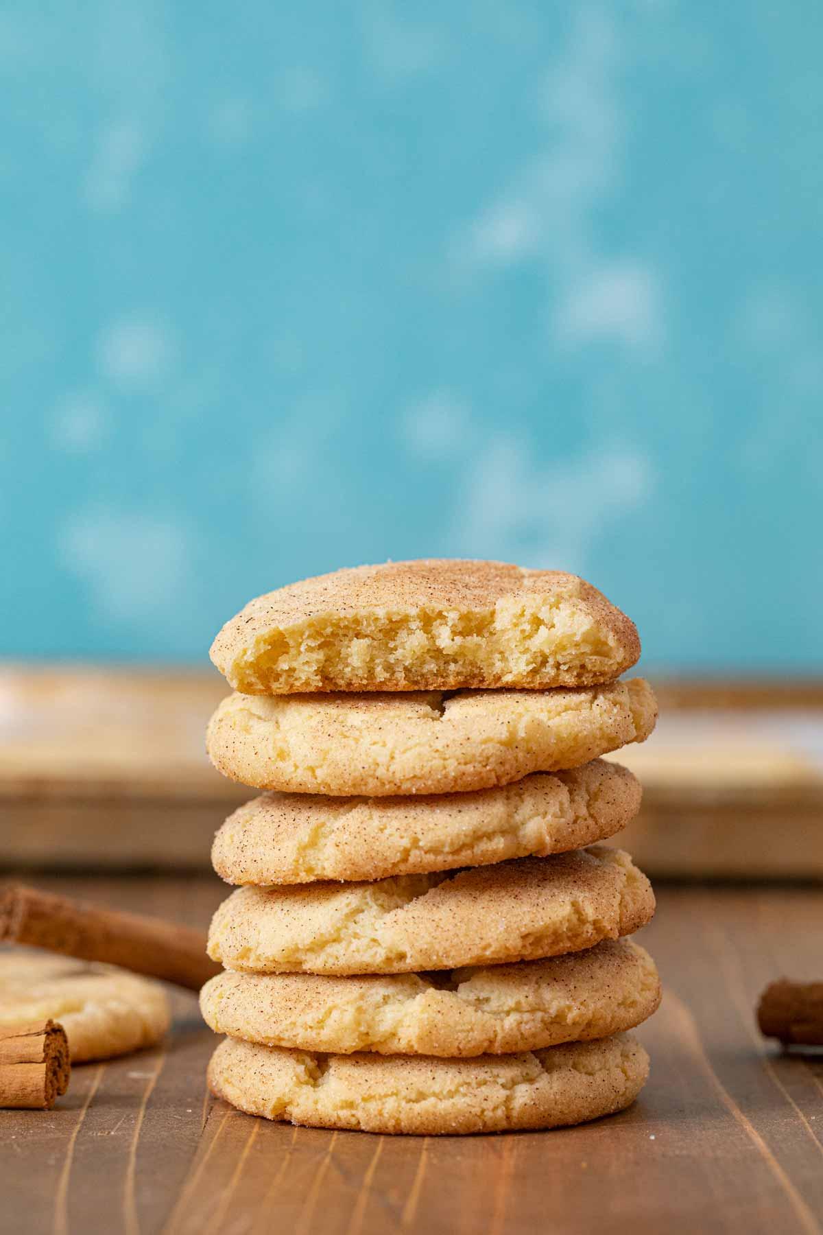 Snickerdoodle Cookies in stack