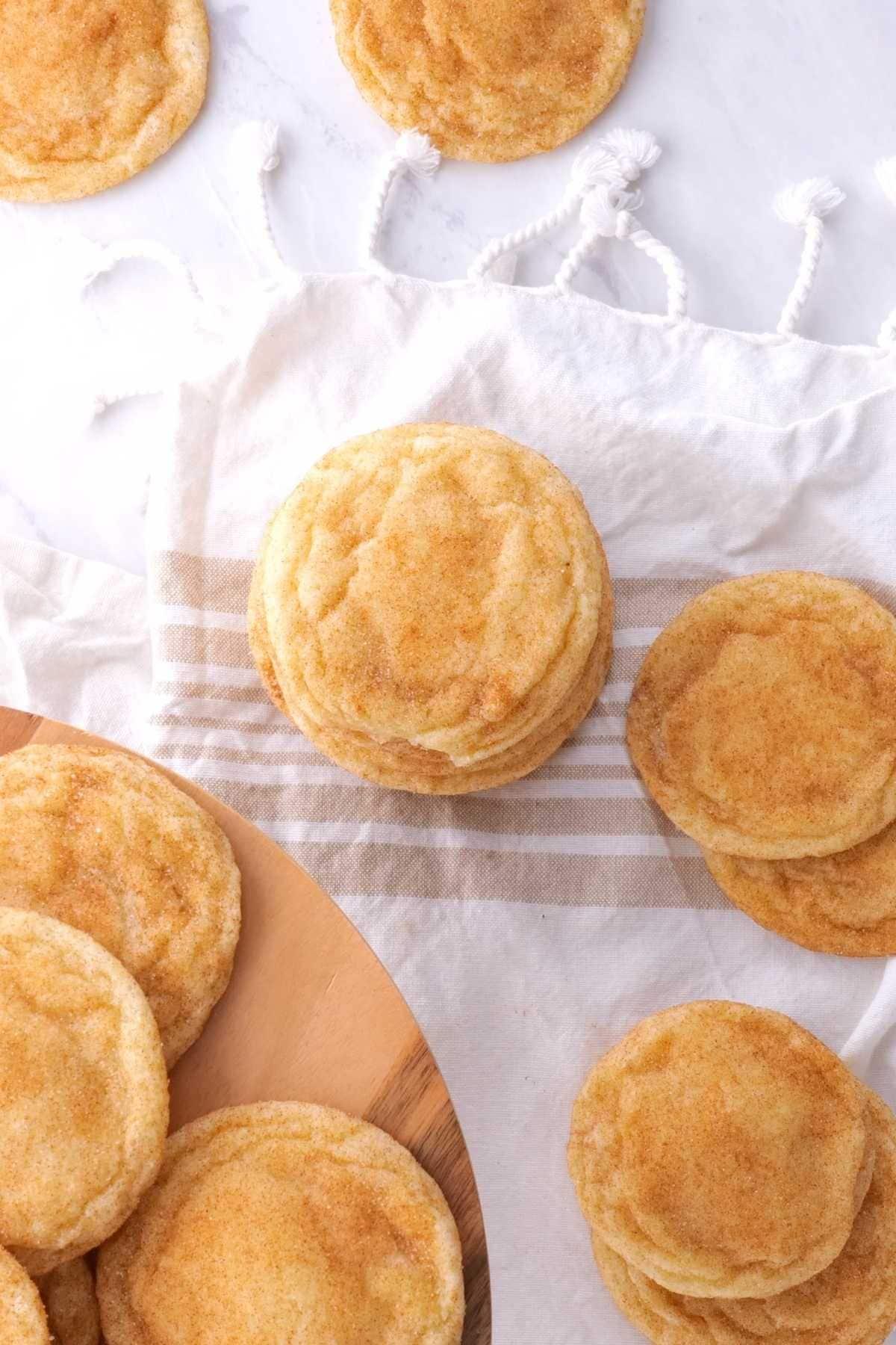Snickerdoodle Cookies on serving board