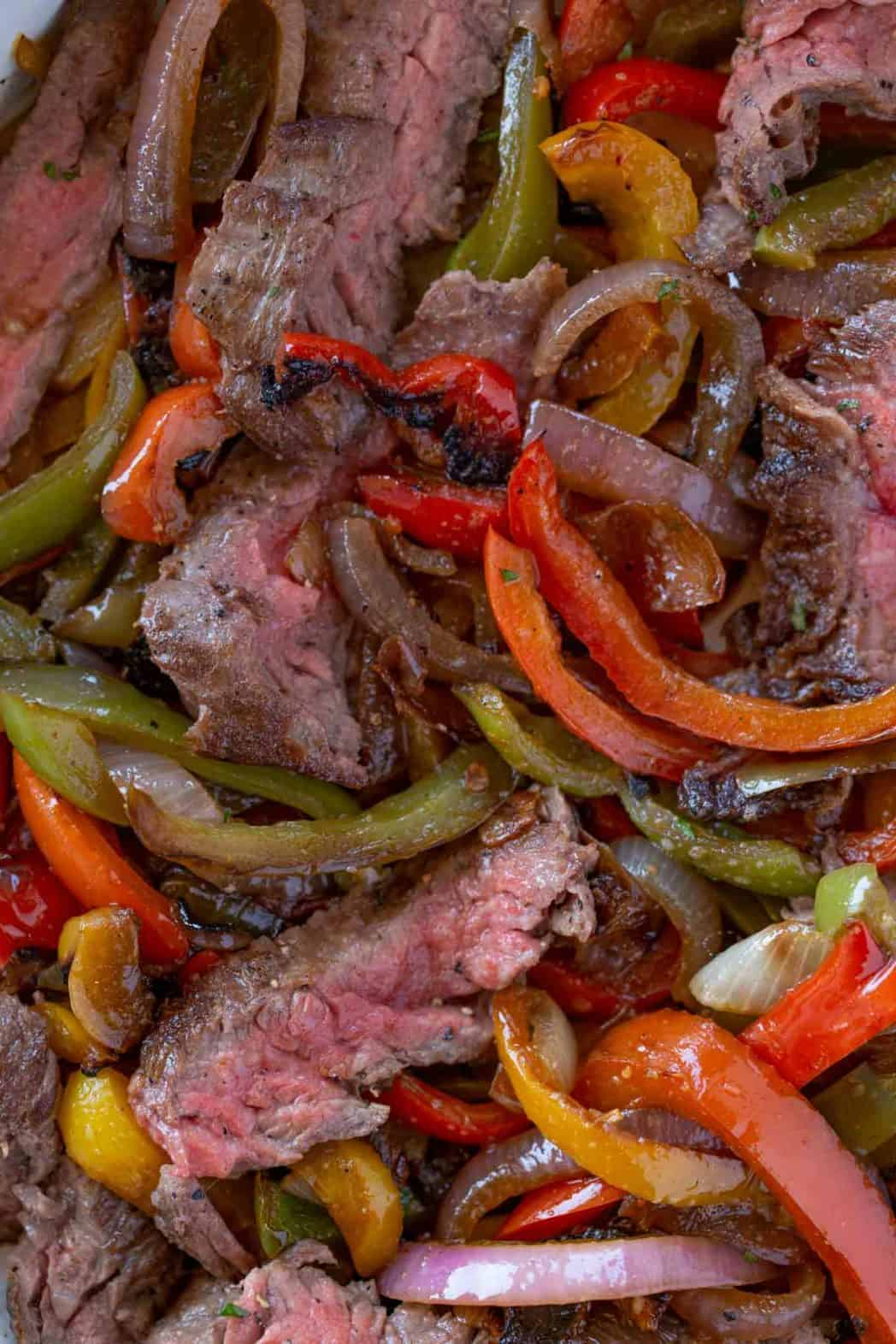 Sliced Steak and fajita vegetables