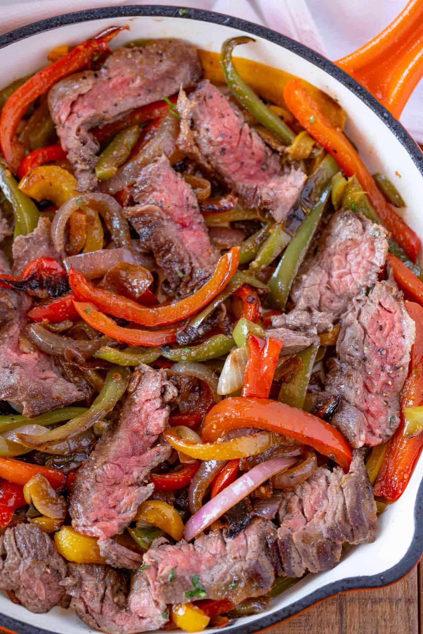 Super Easy Steak Fajitas In One Skillet Dinner Then Dessert