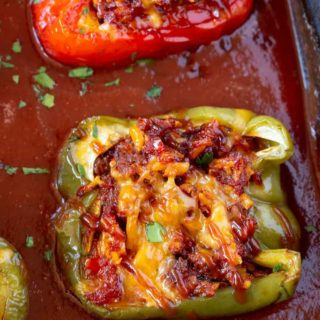 Barbecue Stuffed Peppers in a pan