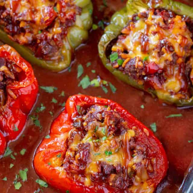Red Bell Pepper Stuffed with BBQ Sauce, Beef and Cheese