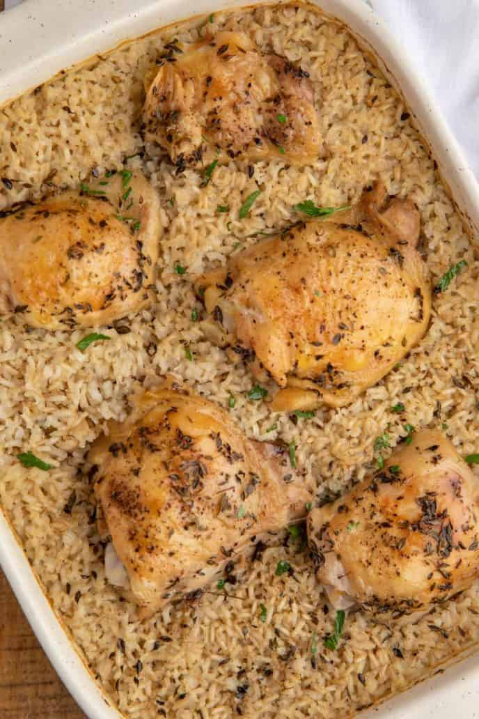 The Perfect Oven Baked Chicken And Rice Dinner Then Dessert
