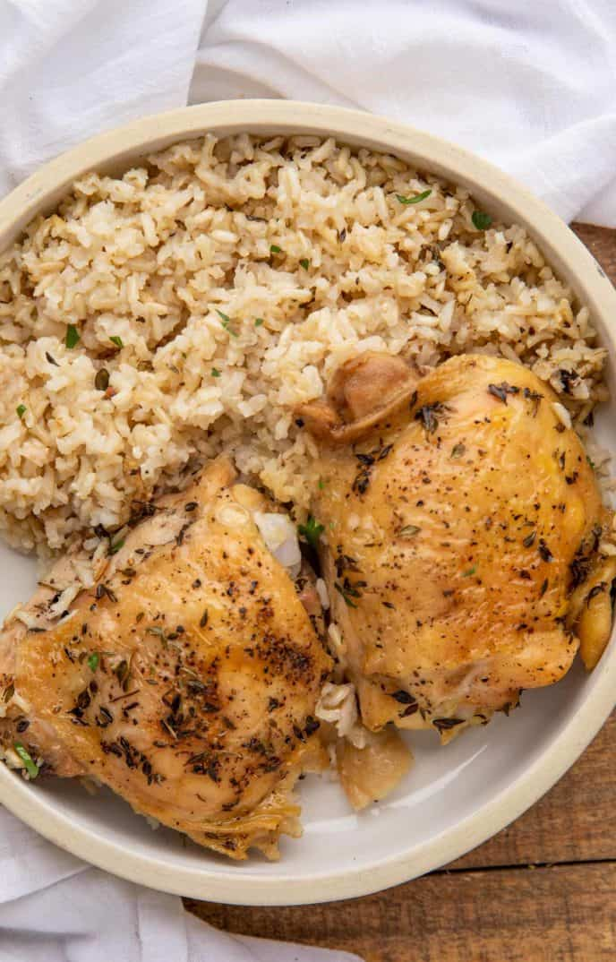 Plate with baked chicken and rice casserole