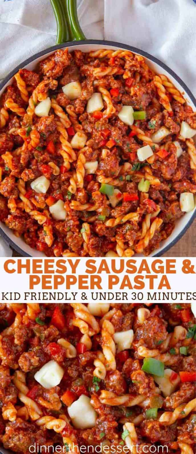 cheesy sausage & pepper skillet pasta