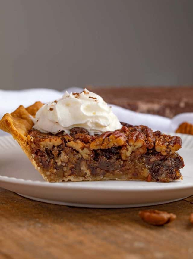 Pecan Pie with Chocolate Chips on plate