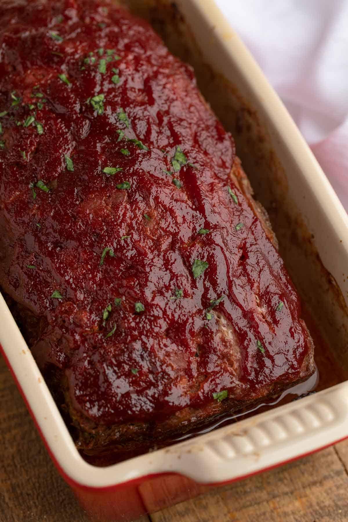 Beef Meatloaf in loaf pan