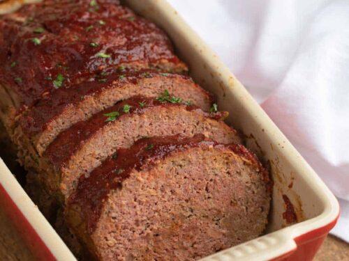 Meatloaf Recipe sliced in red loaf pan
