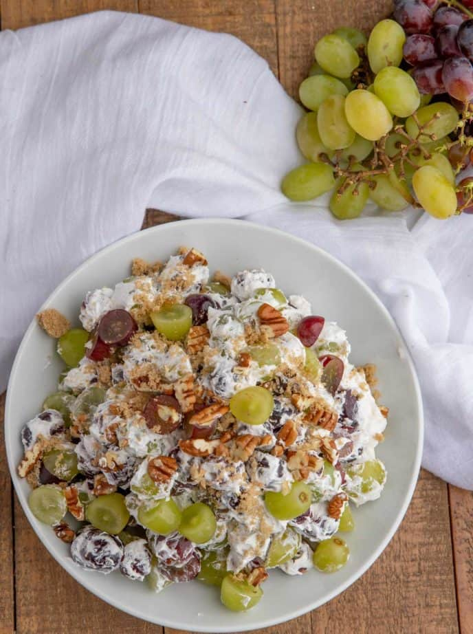 Creamy Grape Salad in white bowl from top down