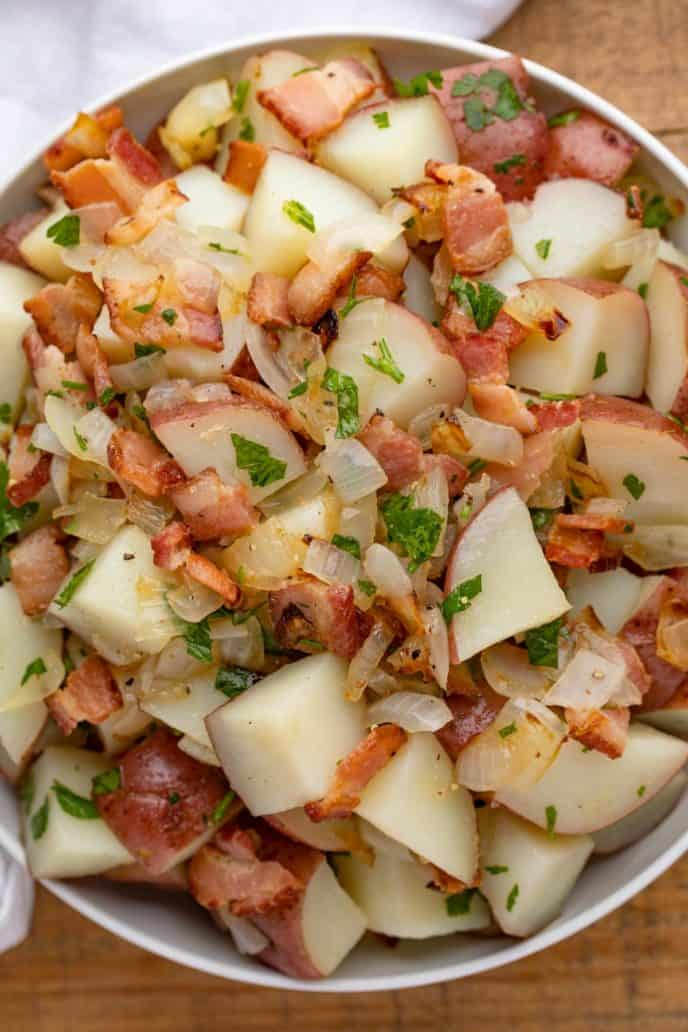 German Potato Salad with Bacon and Onions in a bowl
