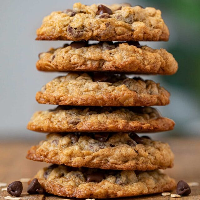 Oatmeal Chocolate Chip Cookies in stack