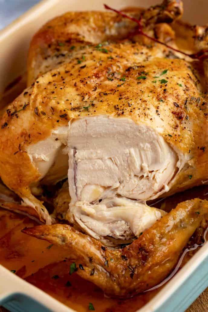 Sliced Roasted Chicken in pan