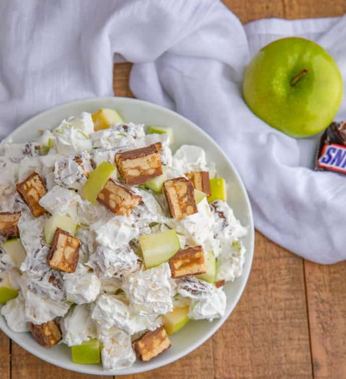 Snickers Apple Salad Recipe in white bowl from top down