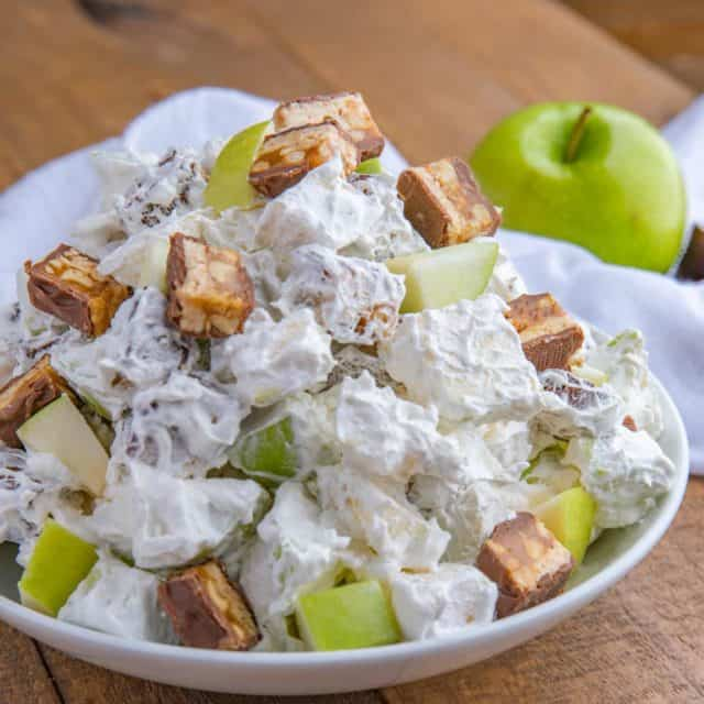 Apple Snickers Salad in a white bowl
