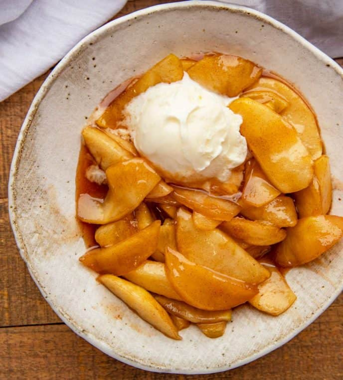 Southern Fried Apples in bowl with Vanilla Ice Cream