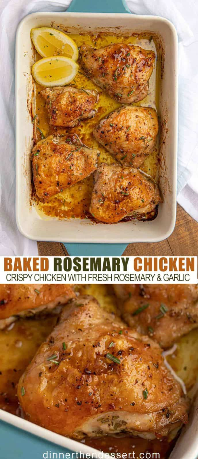 Baked Rosemary Chicken in a blue pan