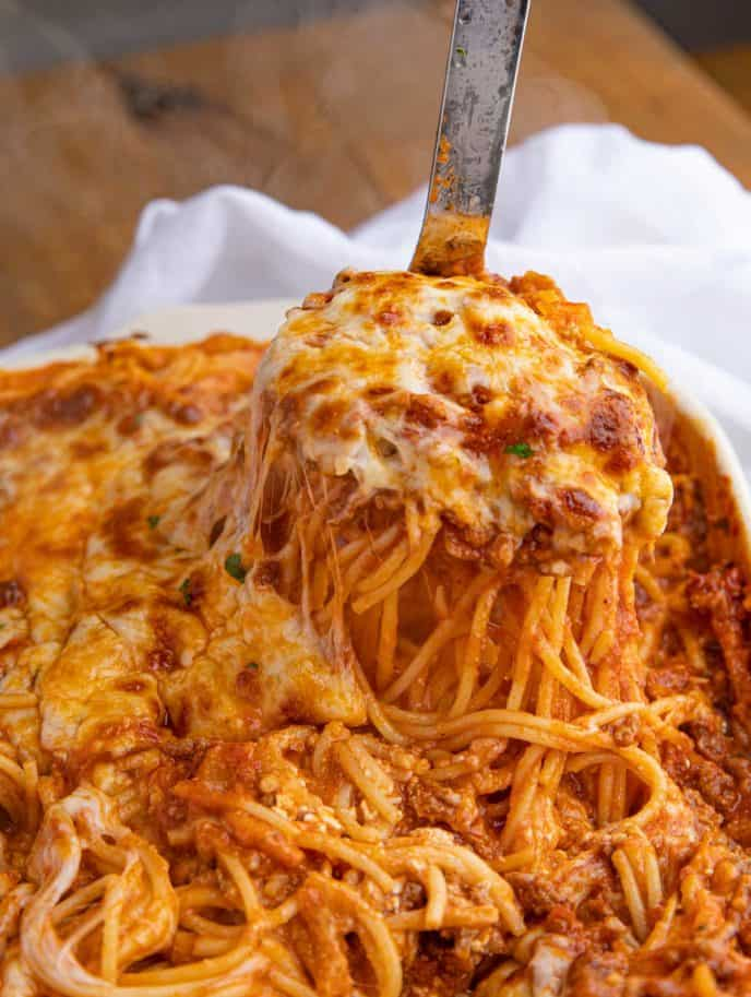 Spoonful of Beef and Cheese Baked Spaghetti