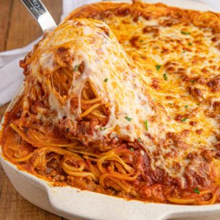 Scoop of Baked Spaghetti
