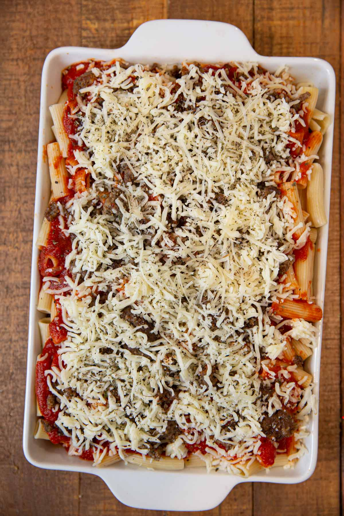 Baked Ziti before baking in baking pan
