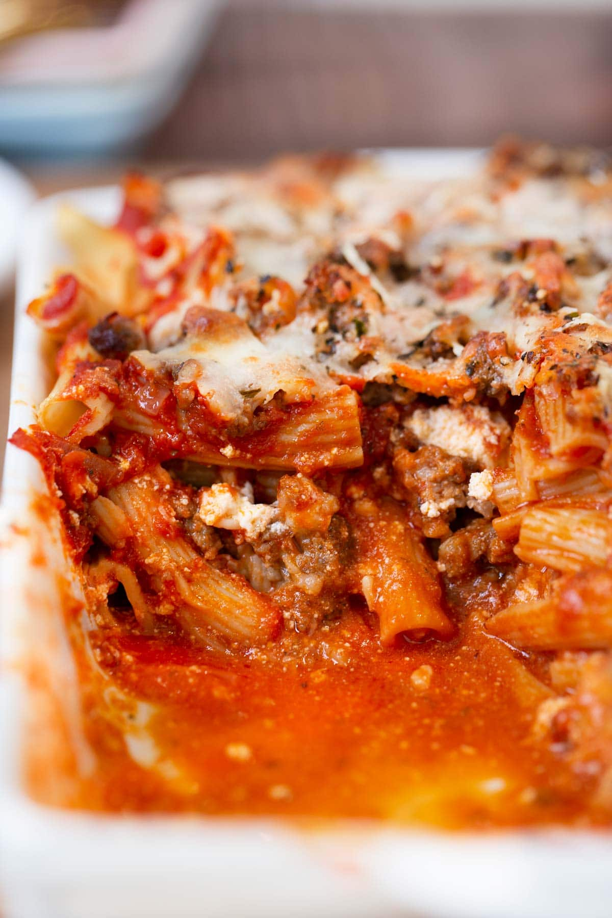 Cross section of Baked Ziti in baking pan