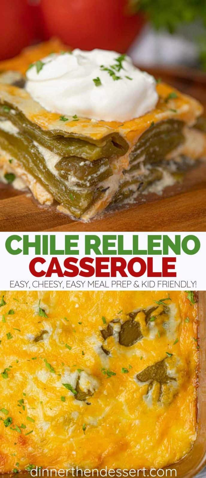 Collage Photos of Chile Relleno Casserole Slice and Pan