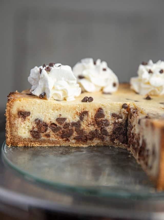 Cut open Chocolate Chip Cheesecake
