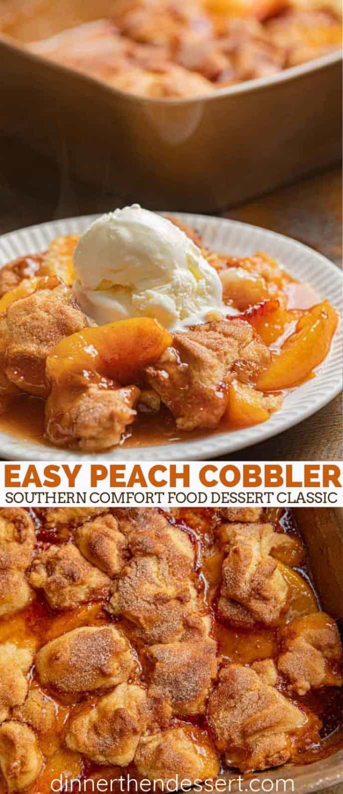 Southern peach cobbler in a pan and on a white plate.