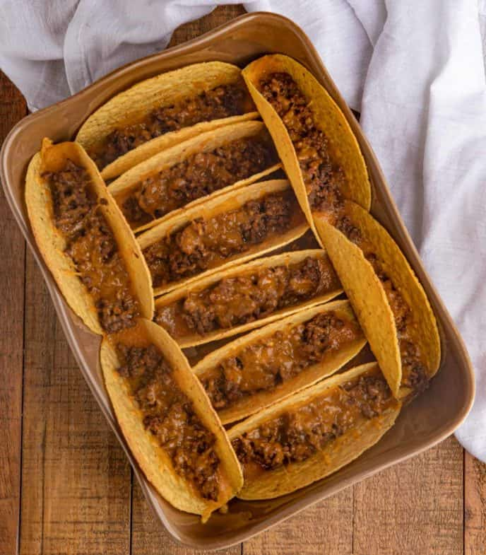 Easy Beef Tacos in Baking Dish with cheese