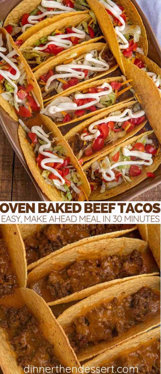 Beef tacos with lettuce, tomato and sour cream