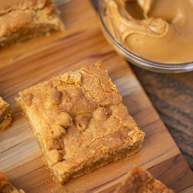 Peanut Butter Brownie on wooden cutting board
