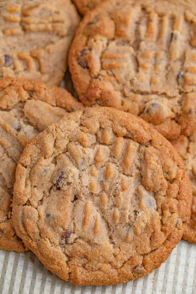 Pile of Peanut Butter Chocolate Chip Cookies