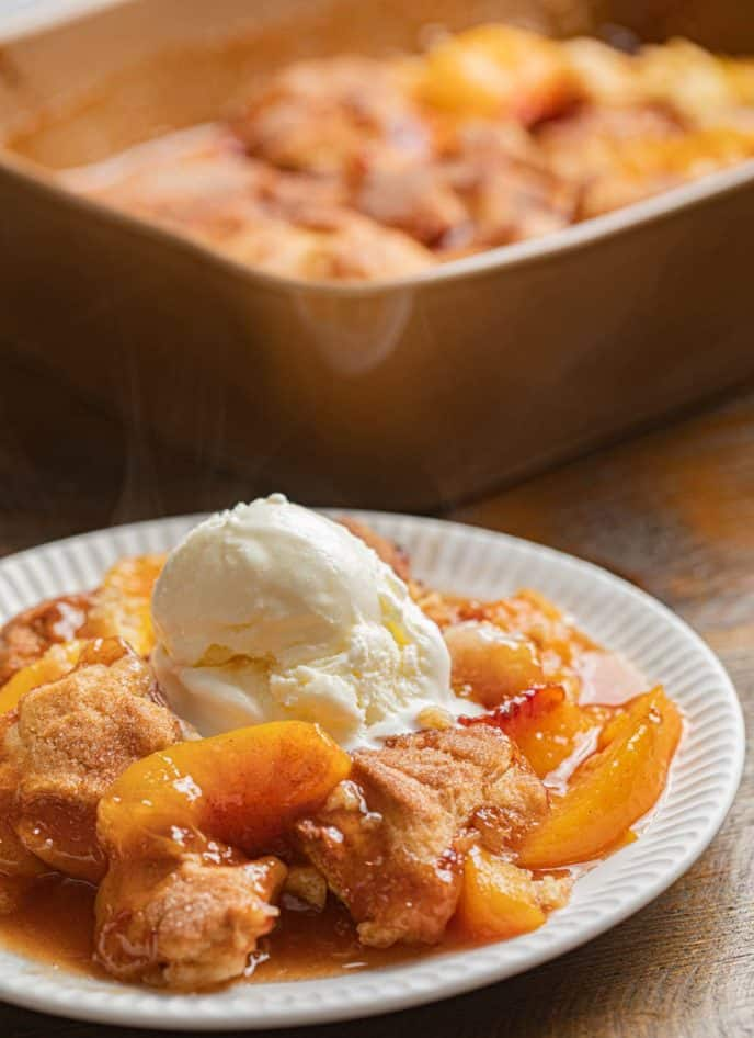 Souther Peach Cobbler on white plate