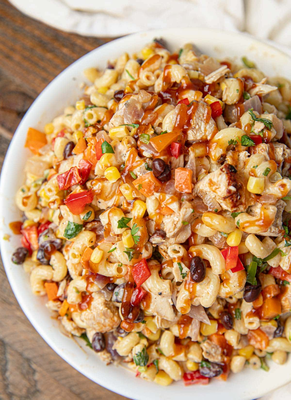 Chicken BBQ Pasta Salad with corn and black beans