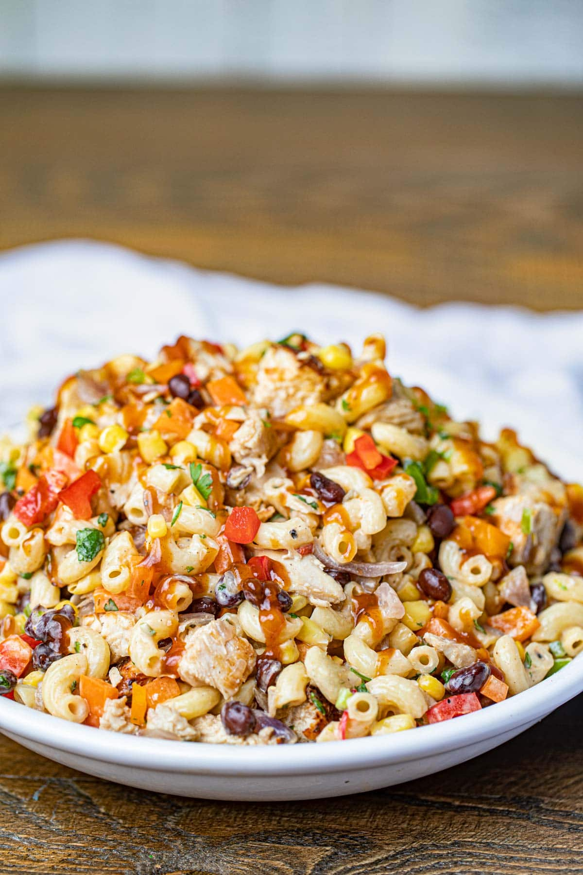 Bowl of Pasta Salad with Chicken, Corn and Beans