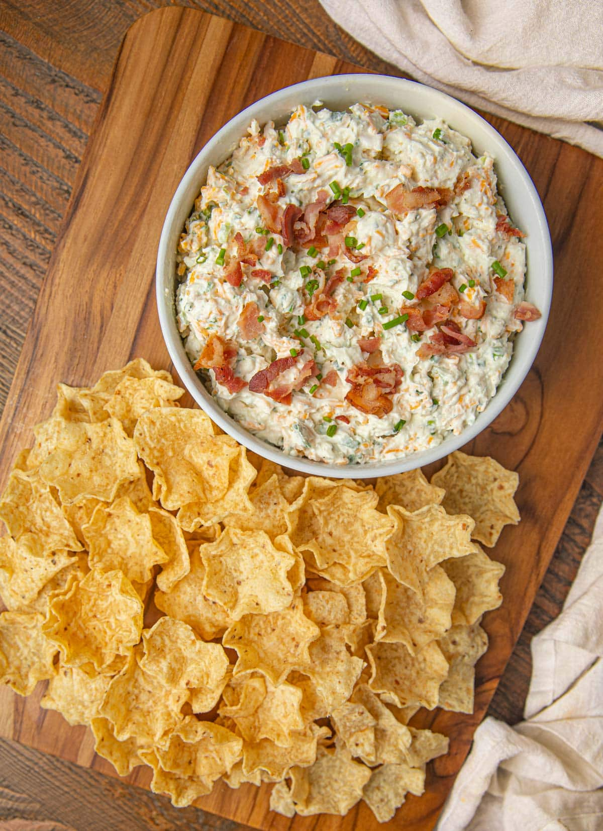 Bacon Ranch Dip with tortilla chips