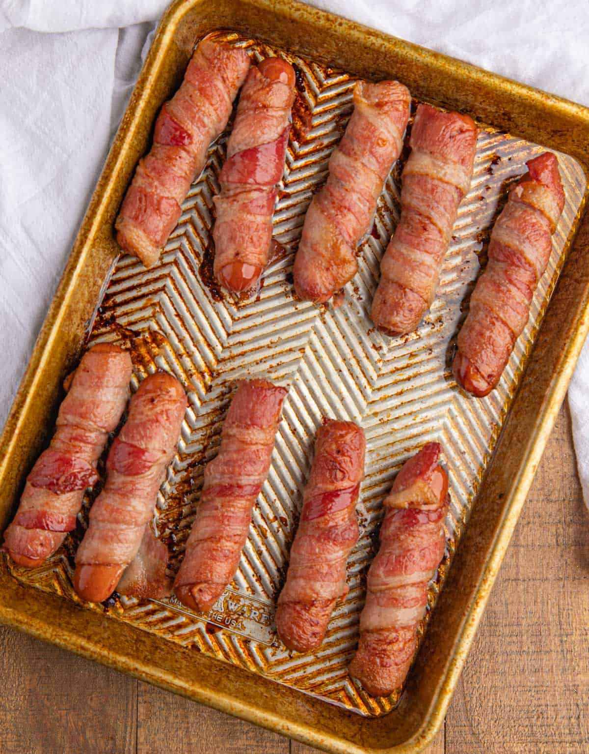 Bacon Wrapped Hot Dogs on Tray