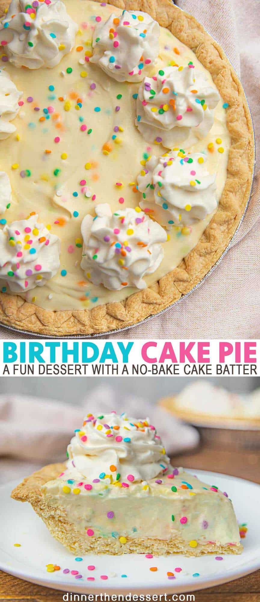 Remarkable Birthday Cake Pie With Rainbow Sprinkles Dinner Then Dessert Birthday Cards Printable Giouspongecafe Filternl