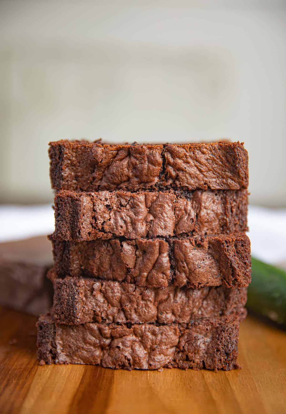 Chocolate Zucchini Bread stacked on plate