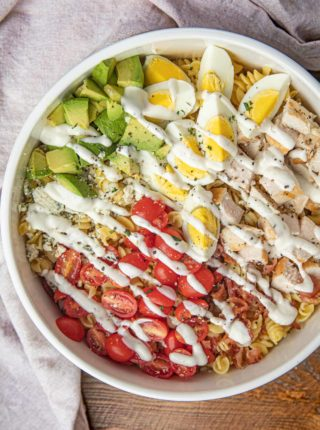 Cobb Pasta Salad with Ranch Dressing in bowl