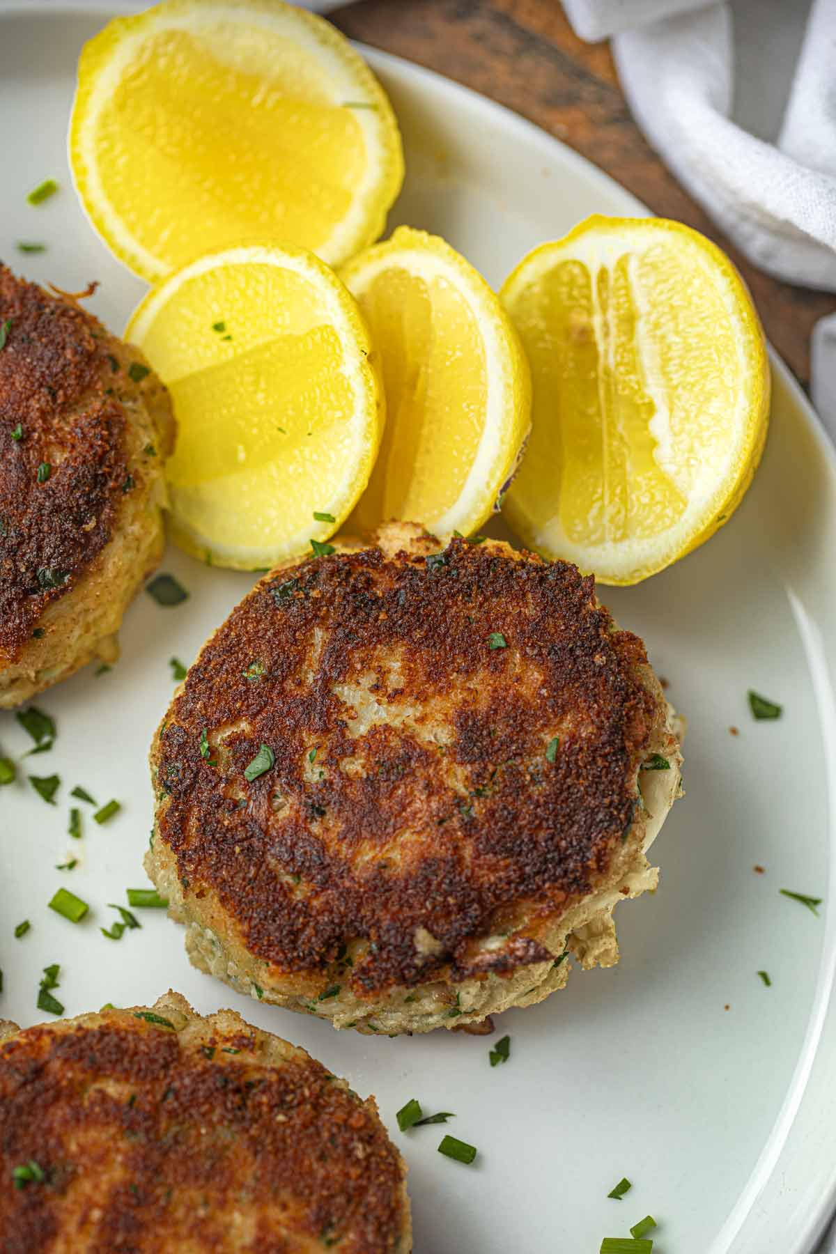 Crab Cake on plate with lemon