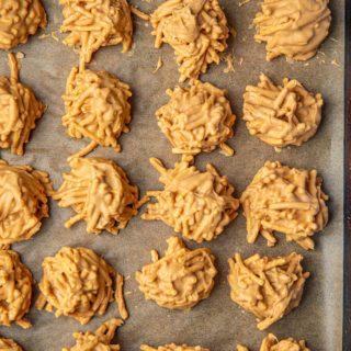 Peanut Butter Butterscotch Haystack Cookies on baking sheet