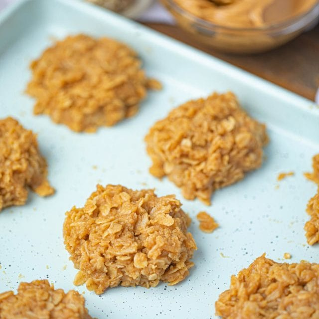Tray of No Bake Peanut Butter Cookies