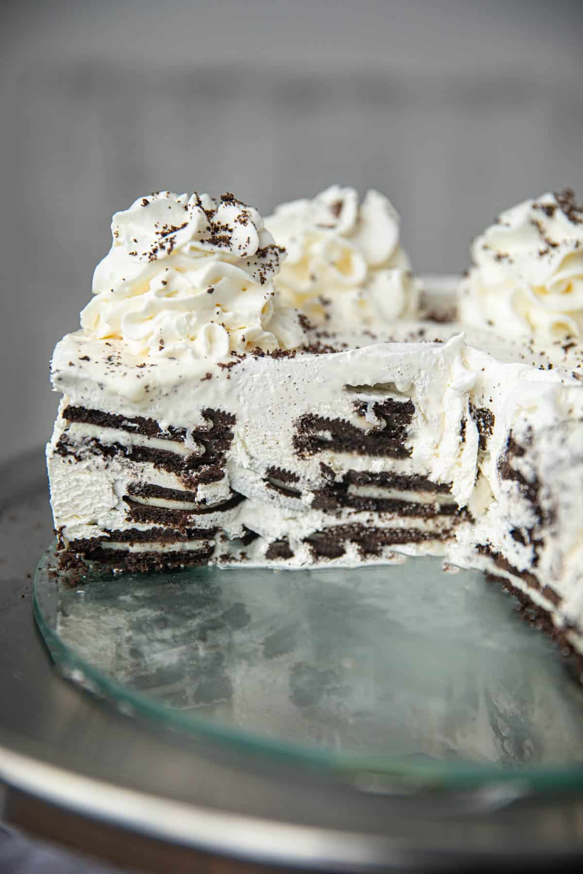 Oreo Ice Box Cake sliced