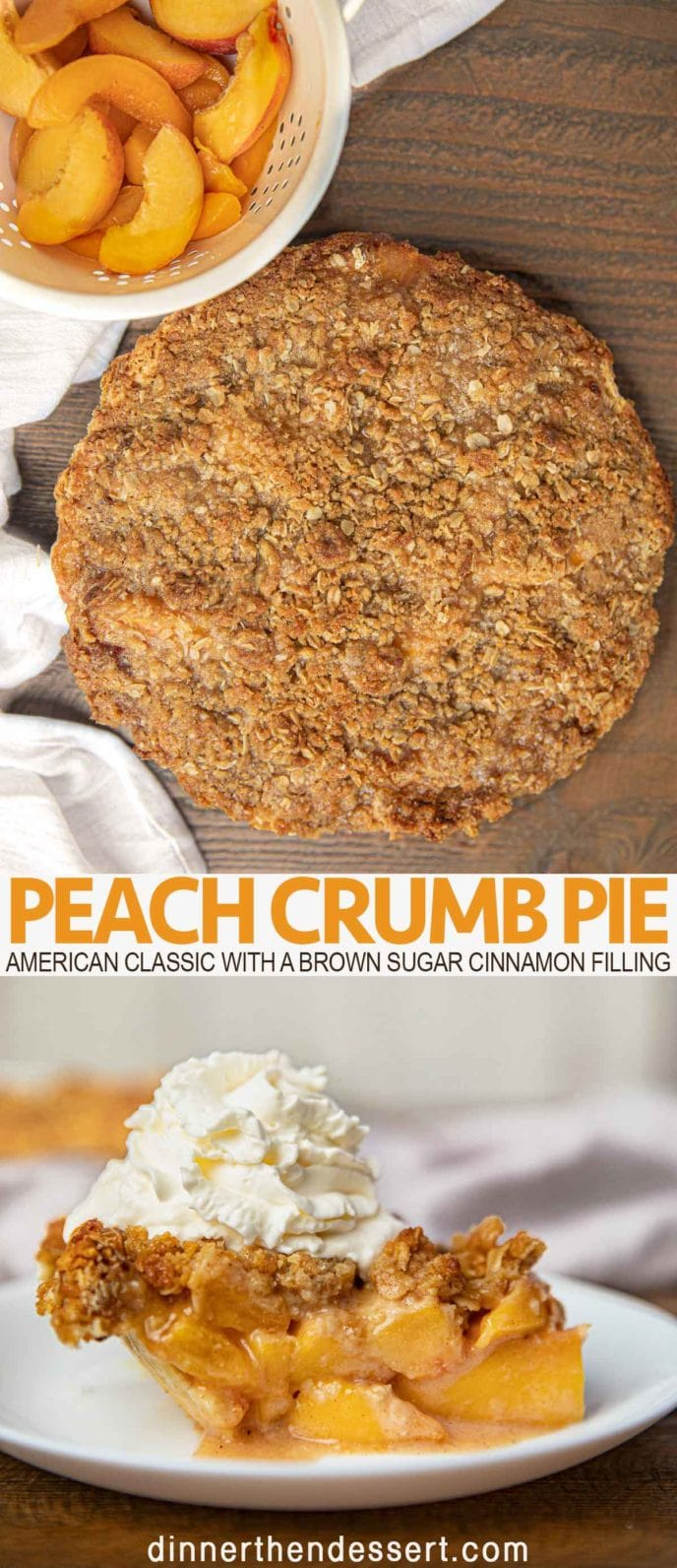 Peach crumb pie from above and sliced