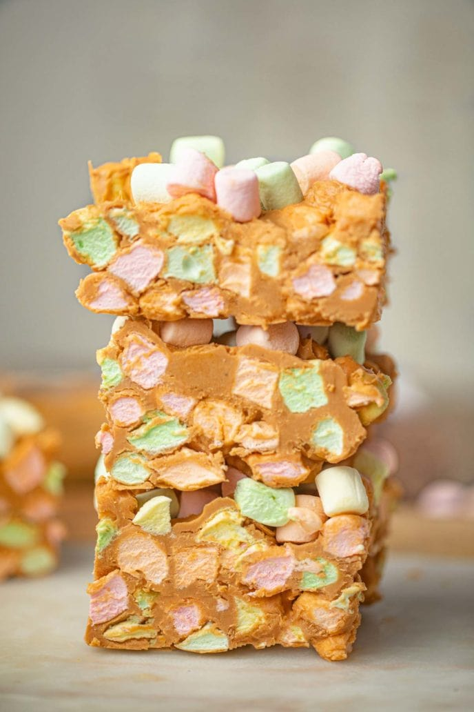 Peanut Butter Confetti Squares stacked