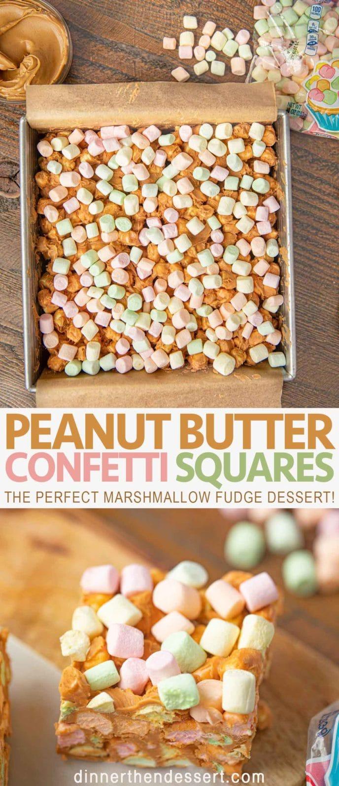 No Bake Peanut Butter Confetti Squares