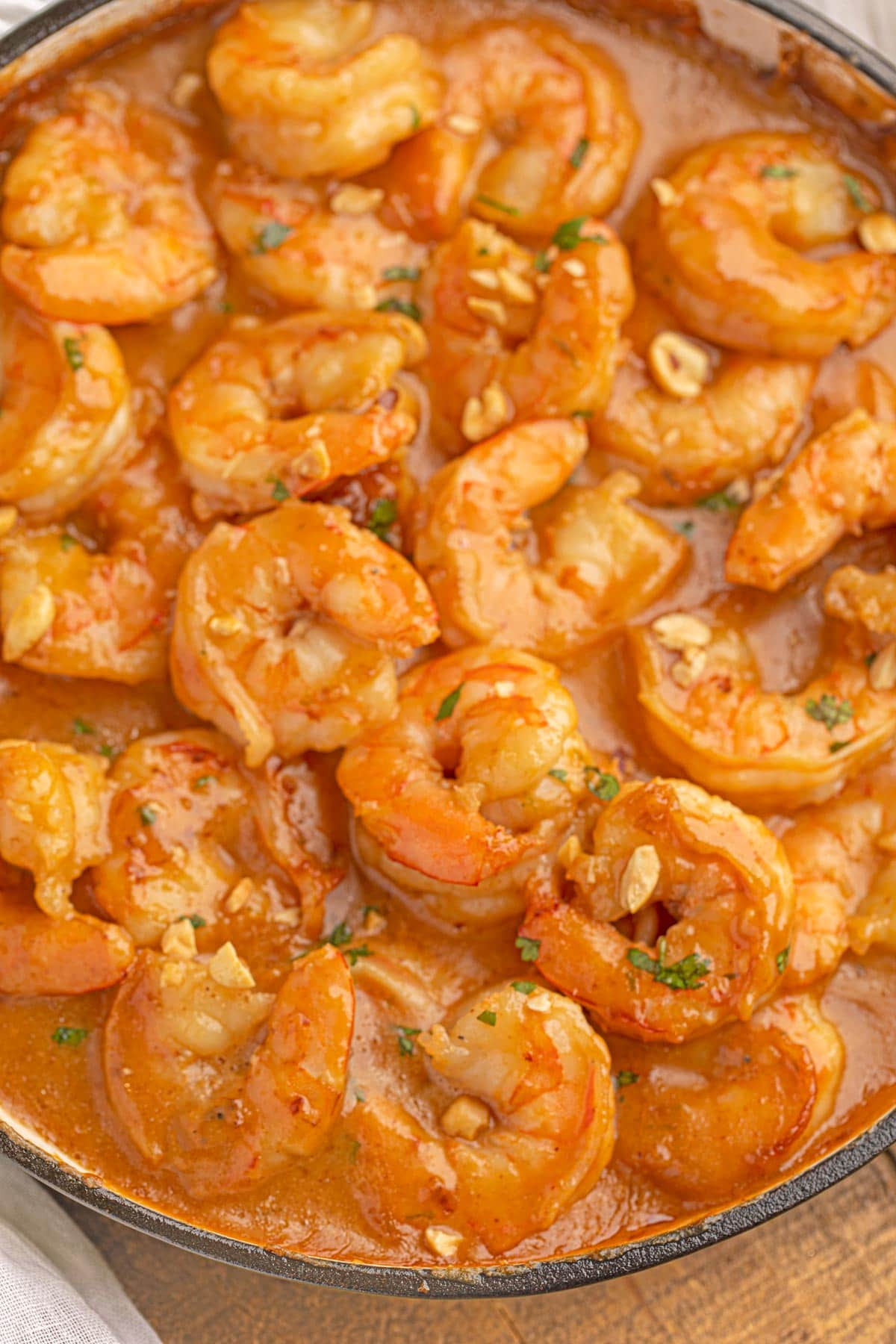 Thai Peanut Shrimp in pan