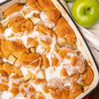Apple Fritter Casserole with icing