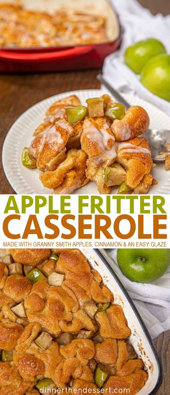 Apple Fritter Casserole on a plate and in a pan
