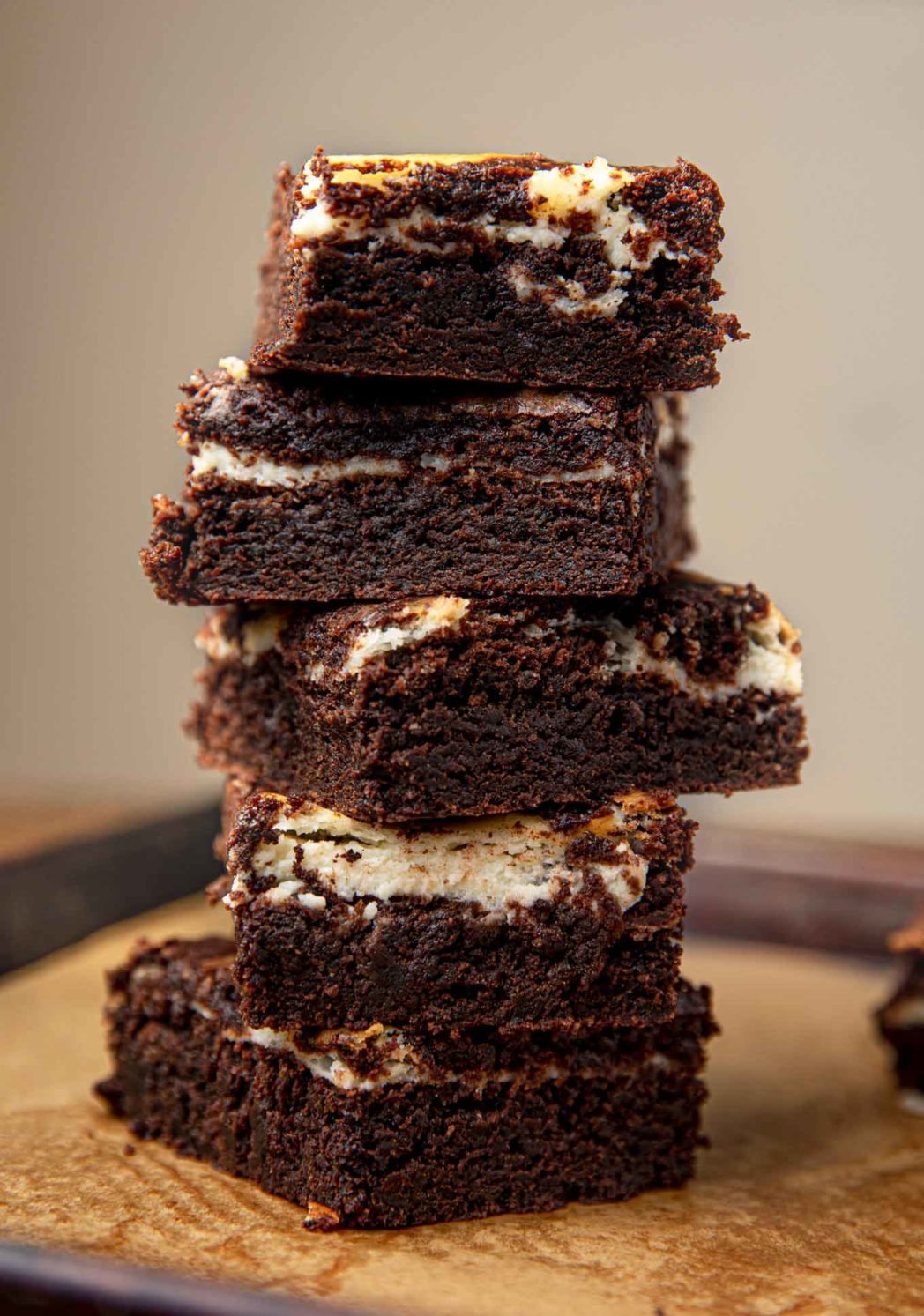 Stack of Cream Cheese Brownies